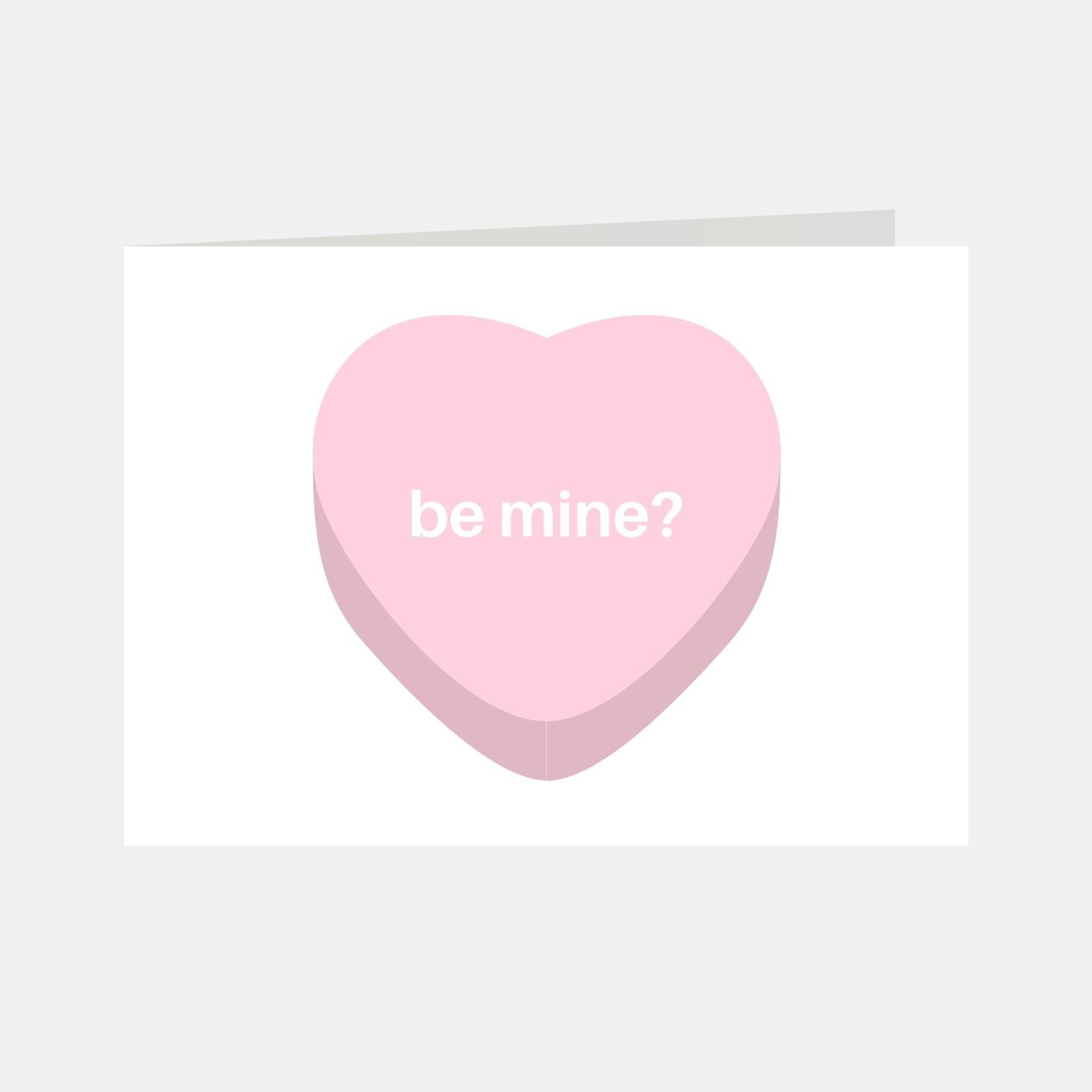 Wenskaart met een roze hartje en de tekst Be mine?
