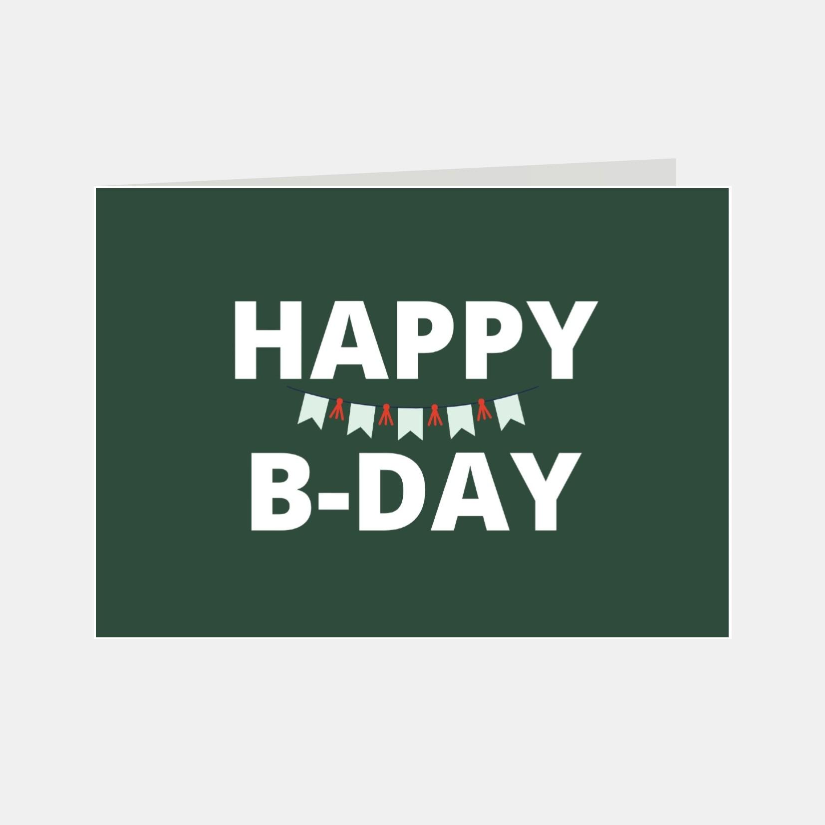 Wenskaart met de tekst happy birthday